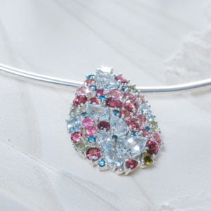 Silver Aquamarine Tourmaline and Blue Diamond Pendant Detail